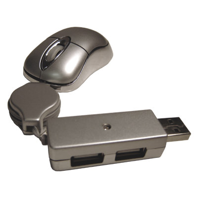 HWMS-0809 Retractable Mouse with 2-port Hub
